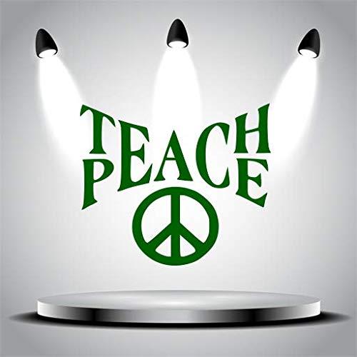 Teach Peace (Green) Wall-Decal High Teacher Quote Classroom Workroom principal's Office Headmaster's Decal School Education Sticker Decor (13