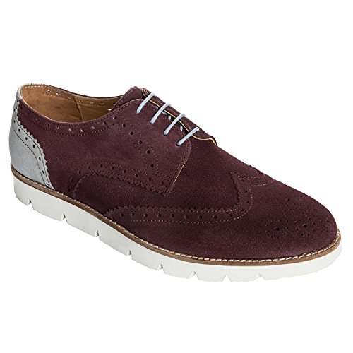 Handmade Casual Brogue Shoe In Real Calf Suede Leather (Lace ups) For Men In Purple