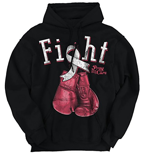 Fight Boxing Gloves Breast Cancer Awareness Support Ribbon Hoodie Sweatshirt