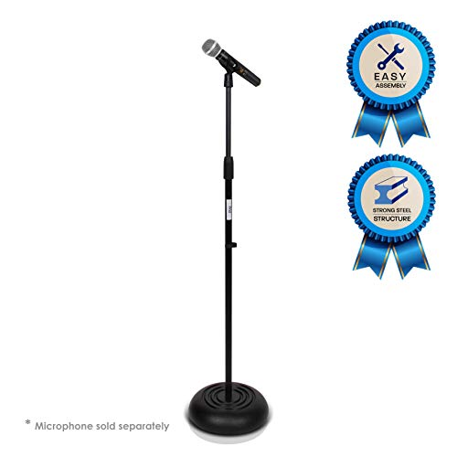 - Microphone Stand - Universal Mic Mount with Heavy Compact Base, Height Adjustable (2.8' - 5' ft.)- PMKS5