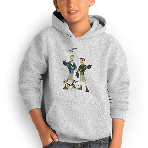 (Don Washington Wild Kratts Logo Youth Hoodies Fashion Sweatshirts Pullover Gray)