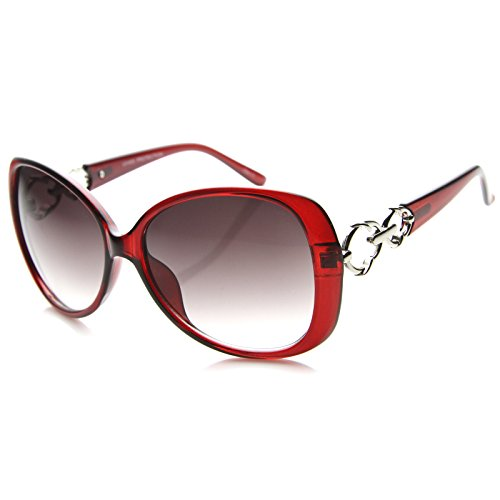 Women's Oversize Metal Accent Temple Butterfly Sunglasses 52mm (Red-Silver/Lavender) ()