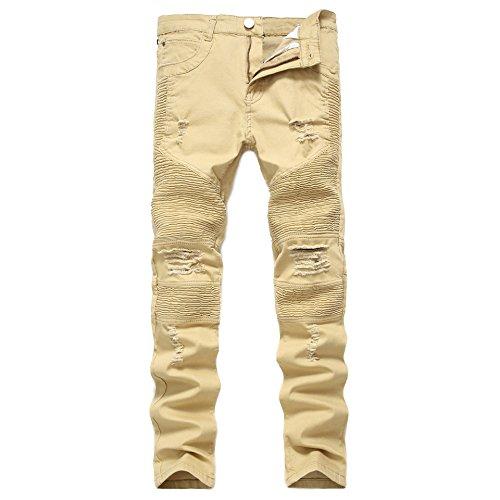 Moda Pantalones Casual Vaqueros 1 Fit Denim Agujeros Vintage Amarillo Jeans Stretch Slim Con Pantalones Destruido Parche Hombres 7zqpfdx7