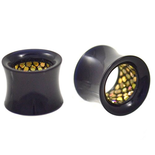 (Pair of Black Acrylic & Pebbled Gold-Tone Glitter Interior Tunnels Ear Plugs Gauges - 1/2