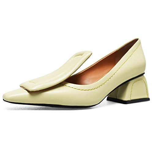 Nine Seven Genuine Leather Womens Square Toe Chunky Heel Dressy Handmade Fashionable Cute Pumps Shoes Light Yellow vOvtW30