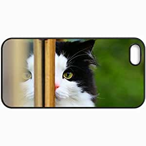 Customized Cellphone Case Back Cover For iPhone 5 5S, Protective Hardshell Case Personalized Cat Window Background Black