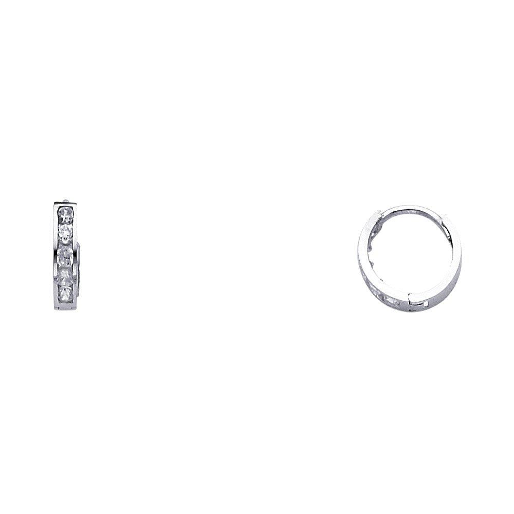 10mm x 10mm 14k White Gold Cubic Zirconia Huggies Earrings,