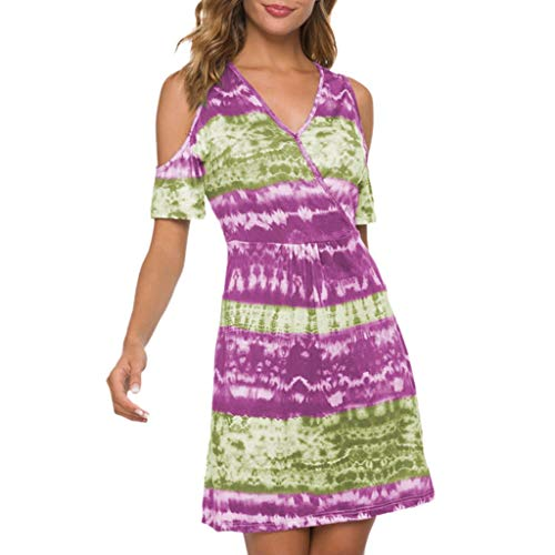 GDJGTA Dress Sexy Women's Casual V-Neck Off Shoulder Multicolor Print Loose Waist Dress Hot Pink