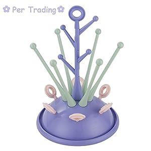 Baby Newborn - Secador de biberones con forma de árbol (capacidad: 6 biberones, con accesorios, 3 colores disponibles)