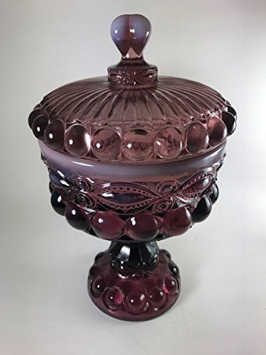 Covered Compote - Eyewinker - Mosser Glass USA - Eye Winker (Small, Plum Opalescent) by Rosso Glass