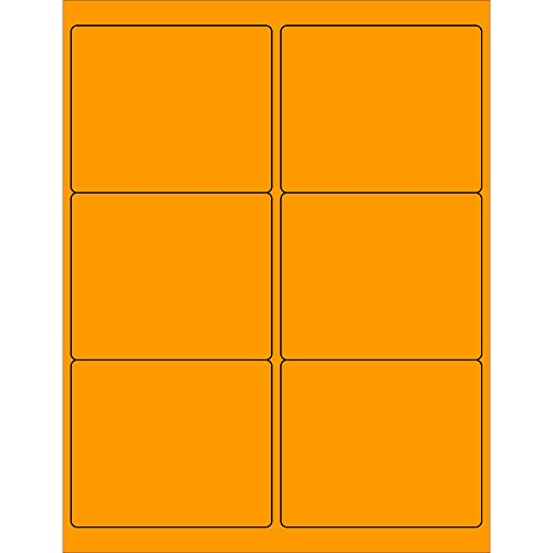 Tape Logic TLLL180OR Rectangle Laser Labels 4 x 3 1/3 Fluorescent Orange (Pack of 600) by Tape Logic