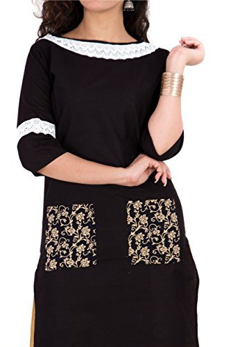 BrightJet Designer Black Cotton Lacework Women Fashion Kurti A-line Kurta Top Tunic with Rayon Solid Beige Plazzo Set Party Dress Casual (XXL) by BrightJet (Image #3)
