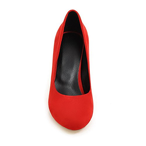 BalaMasa Womens Stiletto Round Toe Pull-On Elastic Fabric Pumps-Shoes Red YddkXqy