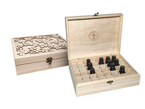 Essential for Life - 48 Slot Wooden Essential Oil Box - Great Carry Case Organizer & Holder for Storage Display Travel & Presentation - Protects 5, 10 & 15ml Bottles ()