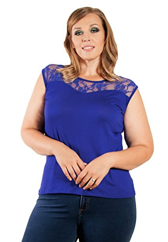 Sealed With A Kiss Designs Plus Size Audrey Lace Tank - Size 2X, Royal