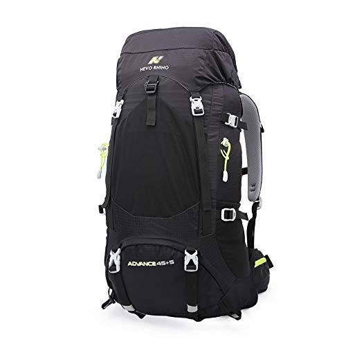 N NEVO RHINO 45L / 50L Internal Frame Backpack, Durable Nylon Climbing Sports Ultralight Daypack with Whistle Buckle, Rain Cover, High-Performance Backpack for Backpacking, Hiking, Camping, Trekking