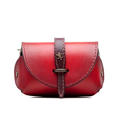 Pratesi Italian Leather Buonconvento Womens Crossbody Clutch Shoulder Bag Purse in cow leather Bruce Collection (Custom Cherry)