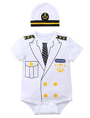 Paddy Field Baby Girls Boys Captain Costume Bodysuit (6-12 Months, Captain)]()