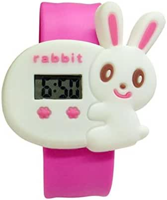 Cartoon White Bunny Unisex Kids Water-resistant Sports Watch Bendable Rubber Strap Wrist Watch