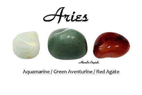 Moonlit Crystals Aries Zodiac Crystal Set/Aquamarine Green Aventurine Brazilian Agate/Astrology Ram/Reiki Spiritual Healing