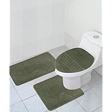 3 Piece Bath Rug Set Pattern Bathroom Rug (20 x32 )/large Contour Mat (20 x20 ) with Lid Cover (Sage)