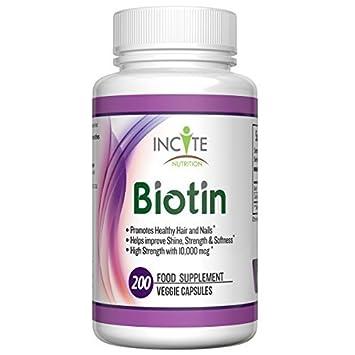 Amazon.com: Incite Nutrition Biotin 10,000mcg Hair and Nail Food ...
