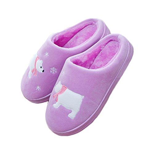 Fleece Warm Purple Indoor Cozy Bear Polar JadeRich Slippers fxtAqgOxw