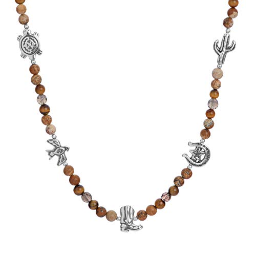 American West Sterling Silver Smokey Quartz, Jasper and Tiger Eye Gemstone and 5 Charm Beaded Necklace 17 Inch