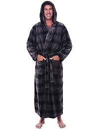 Mens Fleece Plaid Robe, Long Hooded Bathrobe