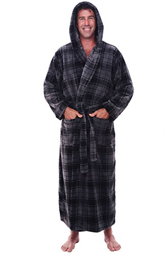 Del Rossa Men's Fleece Robe, Long Hooded Bathrobe, Large XL Gray Plaid (A0125R40XL)