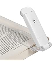 DEWENWILS USB Rechargeable Book Reading Light, Warm White, Brightness Adjustable for Eye-Protection, LED Clip on Book Lights, Portable Bookmark Light for Reading in Bed, White