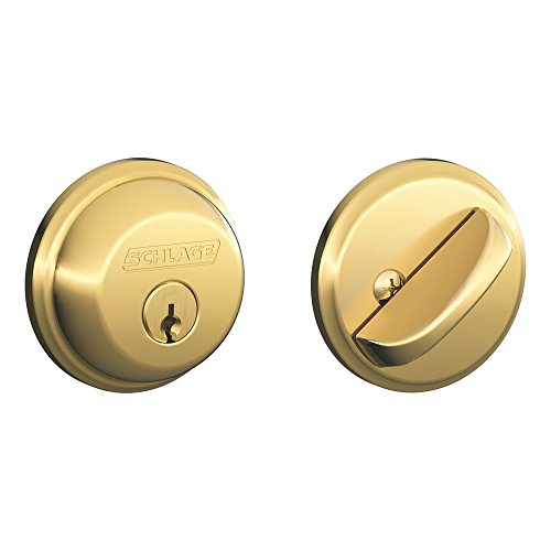 Schlage B60N505 Deadbolt, Keyed 1 Side, Bright Brass (Commercial Bolt Schlage)