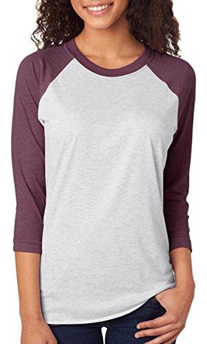 Next Level Unisex 3/4-Sleeve Raglan T-Shirt, Vintage Purple/Hthr Wht, Small