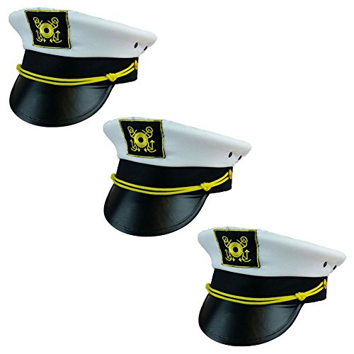 [Captain Hat - Yacht Boat Sailing Fishing Captains Cap (3 Pack) Funny Party Hats] (Ship Captain Costumes)