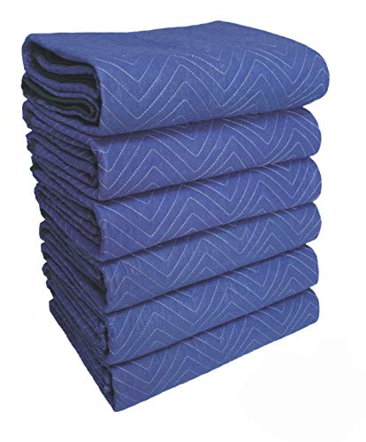 """SOMIDE Deluxe Pro Moving Blanket, 50 Lbs/doz, 6 Pack, 72"""" x 80"""" - Thick Padding, Colorfast, Blue/Blue - Professional Quilted Furniture Blankets"""