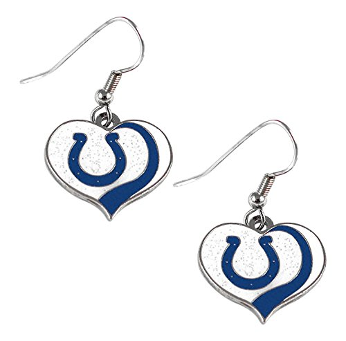 aminco NFL Indianapolis Colts Women's Sports Team Logo Swirl Heart Glitter Earring Set, One Size, Multicolor