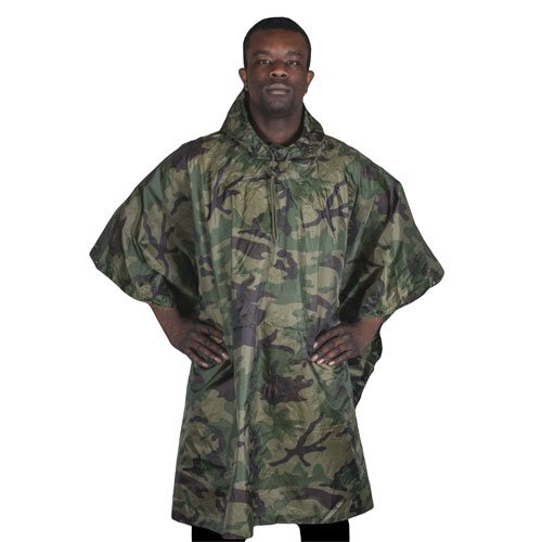 Fox Outdoor Products Ripstop Poncho, Woodland Camouflage (Woodland Camo Ripstop)