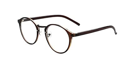 0503f392f5d Image Unavailable. Image not available for. Color  Brown Retro Vintage  Round Circle Frame Eyeglasses ...