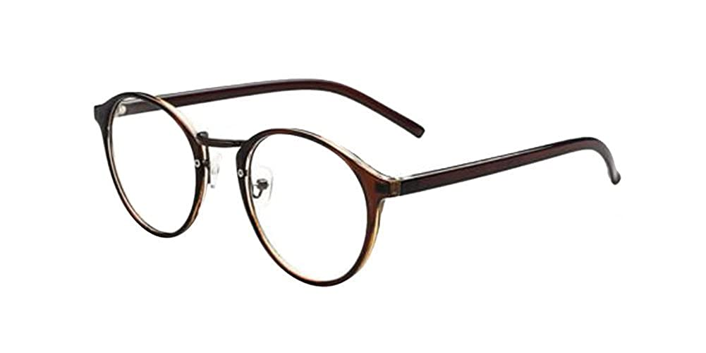 ブラウン新しいファッションレトロヴィンテージラウンド円フレーム眼鏡クリアレンズEye Glasses   B00WA83AOI