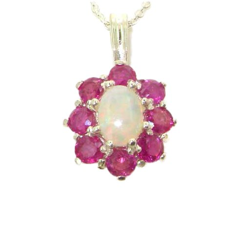 Ladies Solid 925 Sterling Silver Ornate Large Natural Fiery Opal and Ruby Cluster Pendant ()