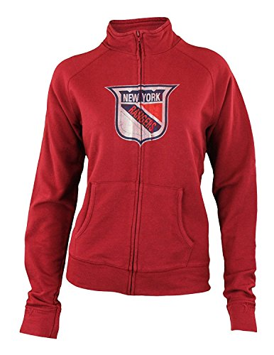 (New York Rangers NHL Womens Vintage Full Zip Better Terry Track Jacket, Red)