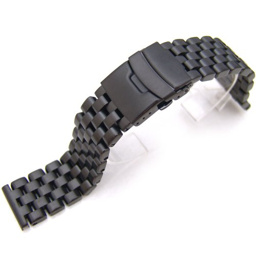 22mm-SUPER-Engineer-Solid-Stainless-Steel-Straight-End-Watch-Band-PVD-Black