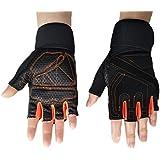 Steampunk Gothic Gloves Mens Vintage Geuuine Leather Captain Fingerless Mittens (Anti-slip Orange)