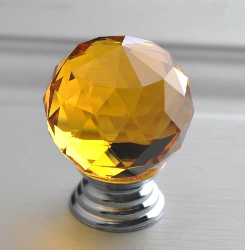 Victorian Amber Glass Knob - xnvj Glass Handle, Drawer Handle Round Glass Knob Cabinet, Chest of Drawers, Dressers, Cabinets and Wardrobes (Amber)