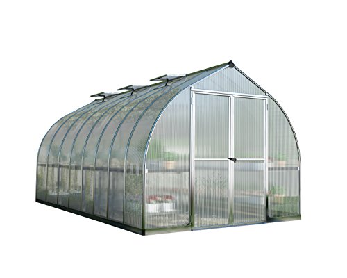 Palram Bella Hobby Greenhouse, 8′ x 16′, Silver with Twin Wall Glazing