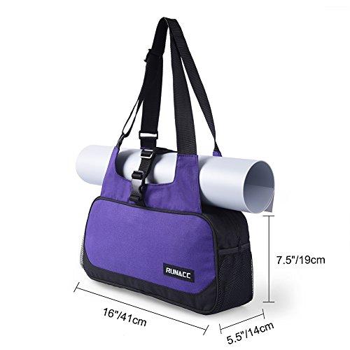 RUNACC Stylish Yoga Mat Bag Lightweight Yoga Mat Carrier Women Shoulder Bags for the Essentials, 1 Free Pair of Yoga Toesocks