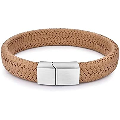 ZUOZUO Leather Wristband Punk Jewelry Black Brown Woven Leather Bracelet Stainless Steel Magnetic Buckle Bracelet 18 5 22 20 5Cm Estimated Price £22.99 -