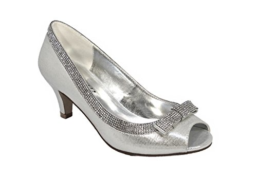 SKO'S Ladies Womens Heels Rhinestone Wedding Party Shoes Pumps Size Silver (L1) 6kgTj