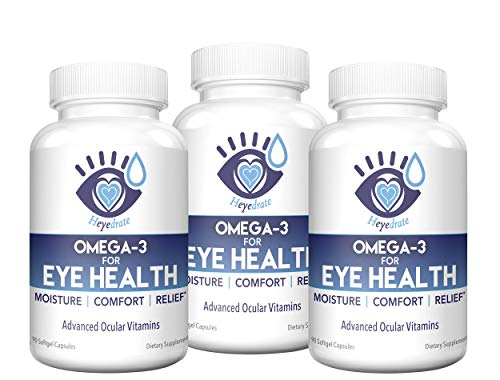 Heyedrate Triglyceride Omega 3 Fish Oil for Eye Health | Provides Comfort and Relief for Dry, Irritated Eyes | Easy to Swallow, Small, Burpless Softgel | EPA, DHA, and Omega 7 Fatty Acids ()