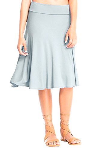 Travel Womens Skirt - 12 Ami Solid Basic Fold-Over Stretch Midi Short Skirt Silver Small